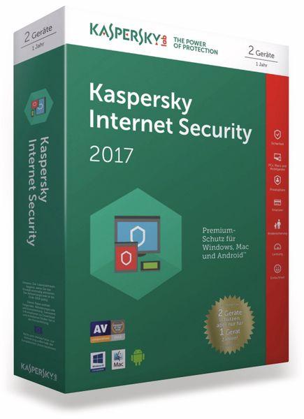 KASPERSKY Internet Security 2017, 2 Lizenzen (Code in a Box) FFP