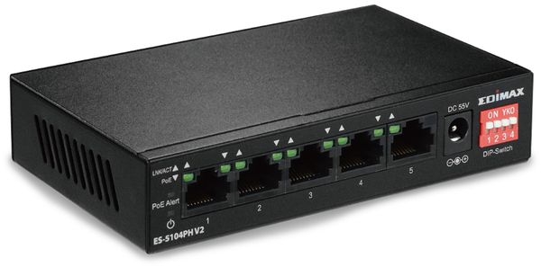 PoE Netzwerk-Switch EDIMAX ES-5104PH V2, Fast Ethernet, 5-port, 70 Watt - Produktbild 1