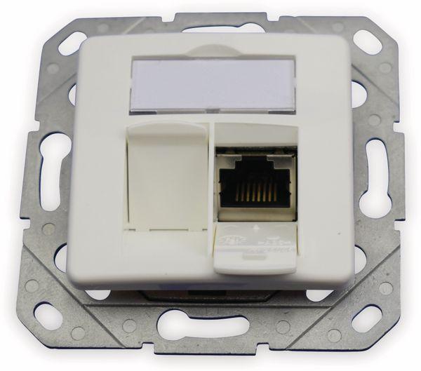 CAT.6a Datendose KOMOS KDD 500, EA 8/8 (8), Komplett mit Zentralscheibe, reinweiß - Produktbild 2