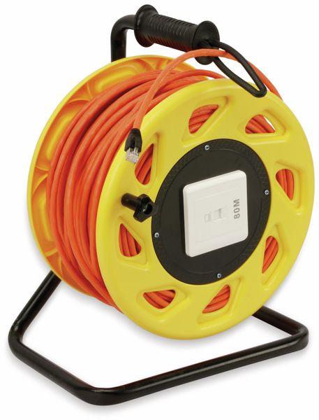 Netzwerkkabeltrommel RED4POWER DCP1042, CAT.7 Kabel mit CAT.6a Stecker, 80 m