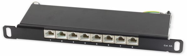 Slim-Patchpanel, CAT.6, 8-Port, 0,5HE, 10""