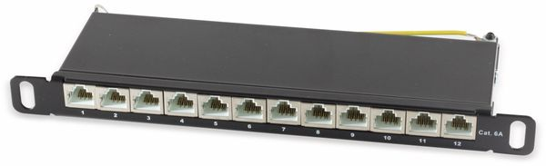 Slim-Patchpanel, CAT.6, 12-Port, 0,5HE, 10""