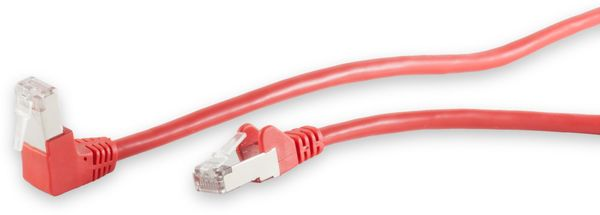 CAT.6 Patchkabel, S/FTP, 90°-gerade, 0,25 m, rot