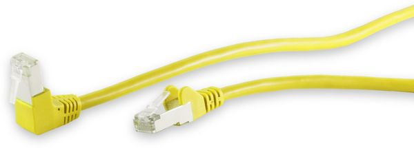 CAT.6 Patchkabel, S/FTP, 90°-gerade, 10 m, gelb