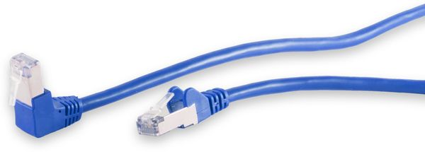 CAT.6 Patchkabel, S/FTP, 90°-gerade, 15 m, blau