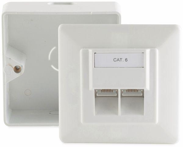 CAT.6 Anschlussdose, 2-fach , AP/UP, reinweiß
