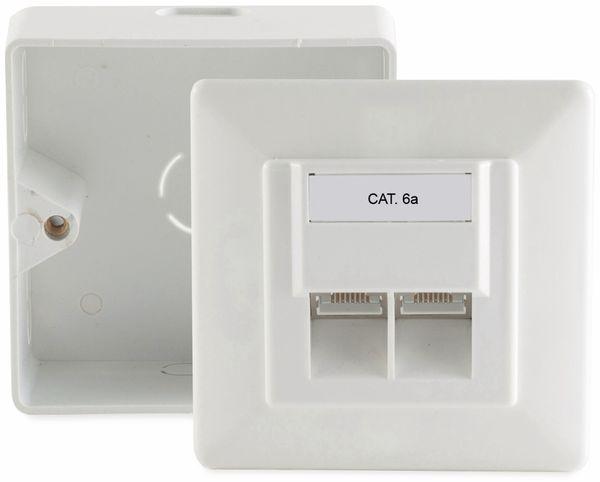 CAT.6a Anschlussdose, 2-fach , AP/UP, reinweiß