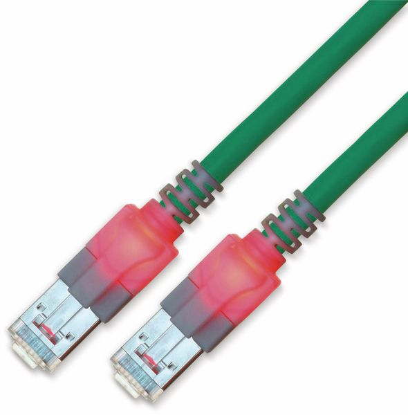 RJ45 Patchkabel SACON CAT.6, S/FTP, Lichtidentifikation, LSOH, türkis, 1,0 m