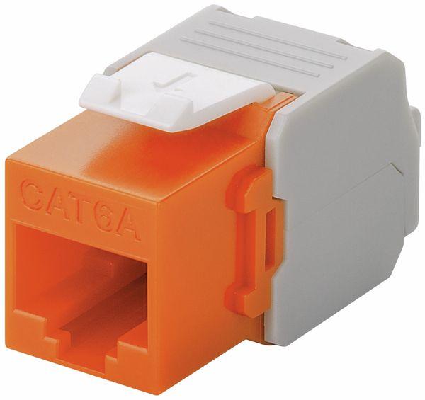 Einbau-Modul GOOBAY 90690, CAT.6a, UTP, Breite 16,5 mm, orange