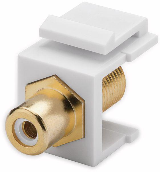 Einbau-Modul GOOBAY 79727, Cinch- auf F-Buchse, vergoldet, weiß