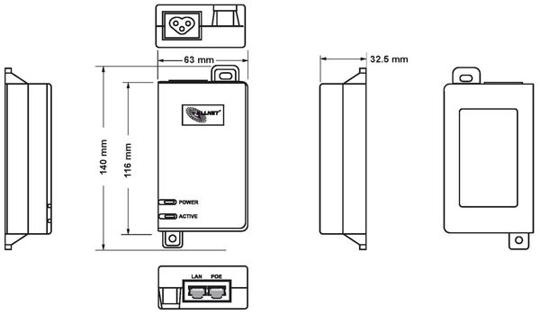 PoE Injektor ALLNET ALL0488v6, 15,4W/30W - Produktbild 6