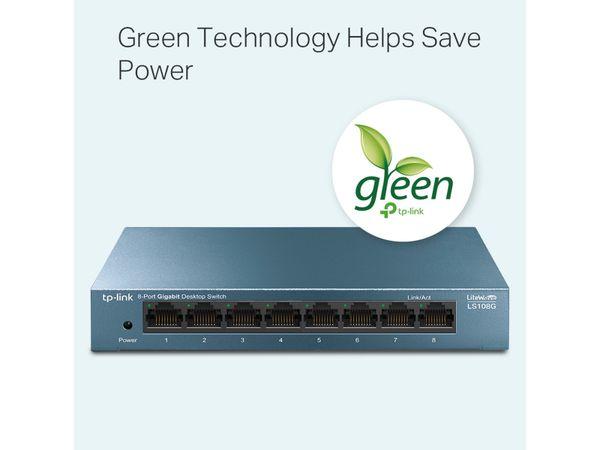 LiteWave Switch TP-LINK LS108G, Gigabit, unmanaged, 8-port, Metall - Produktbild 4