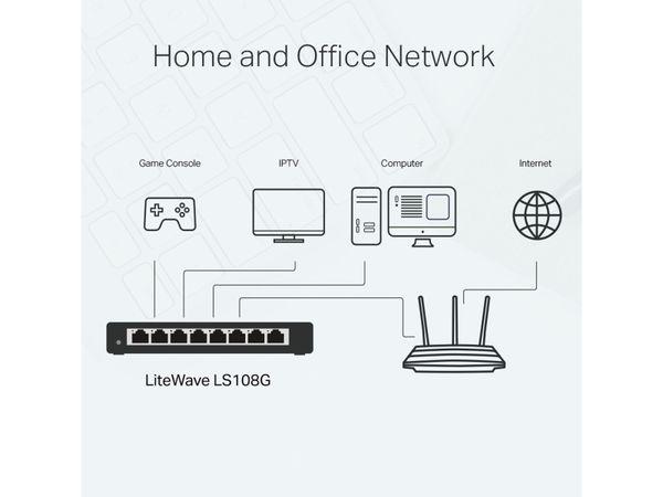 LiteWave Switch TP-LINK LS108G, Gigabit, unmanaged, 8-port, Metall - Produktbild 5