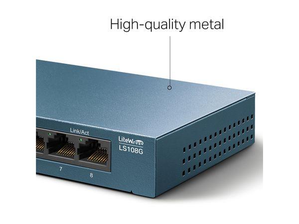 LiteWave Switch TP-LINK LS108G, Gigabit, unmanaged, 8-port, Metall - Produktbild 6