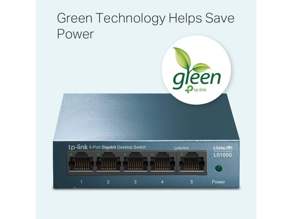 LiteWave Switch TP-LINK LS108G, Gigabit, unmanaged, 5-port, Metall - Produktbild 3