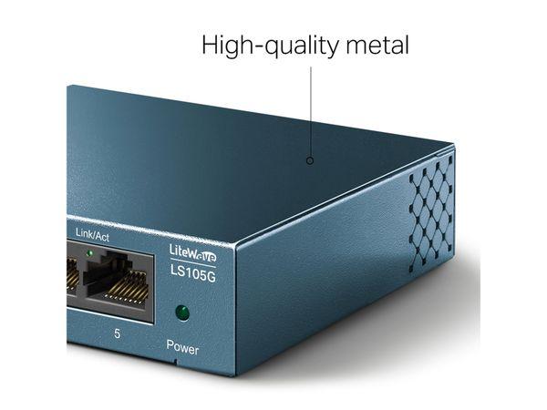 LiteWave Switch TP-LINK LS108G, Gigabit, unmanaged, 5-port, Metall - Produktbild 5
