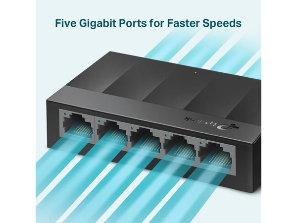 LiteWave Switch TP-LINK LS1005G, Gigabit, unmanaged, 5-port, Kunststoff - Produktbild 3