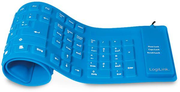Tastatur LOGILINK ID0035A, flexibel, blau - Produktbild 1