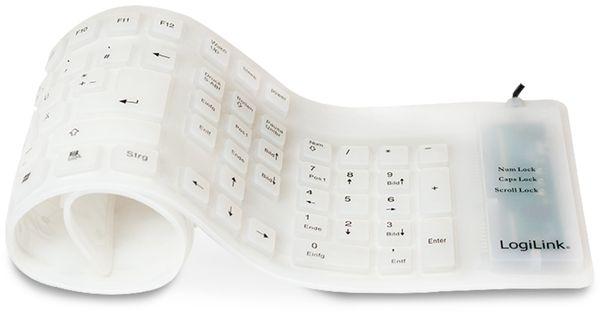 Tastatur LOGILINK ID0018A, flexibel, weiß