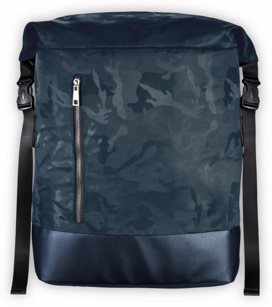 "Notebook-Rucksack HAMA Roll-Top, 15,6"", Mission Camo, Navy Blue"
