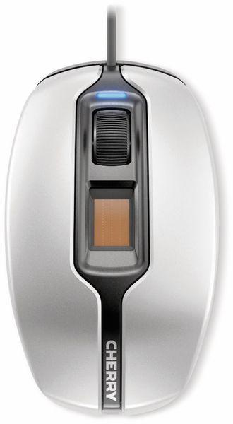 USB-Maus CHERRY MC 4900, optisch, mit Fingerprintleser, silber