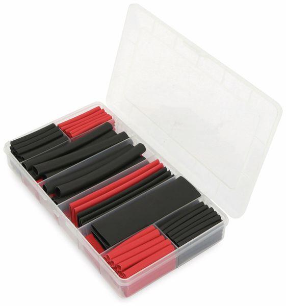 Schrumpfschlauch-Sortiment, 142-teilig Plastikbox, klebend, Schrumpfrate 3:1, schwarz+rot