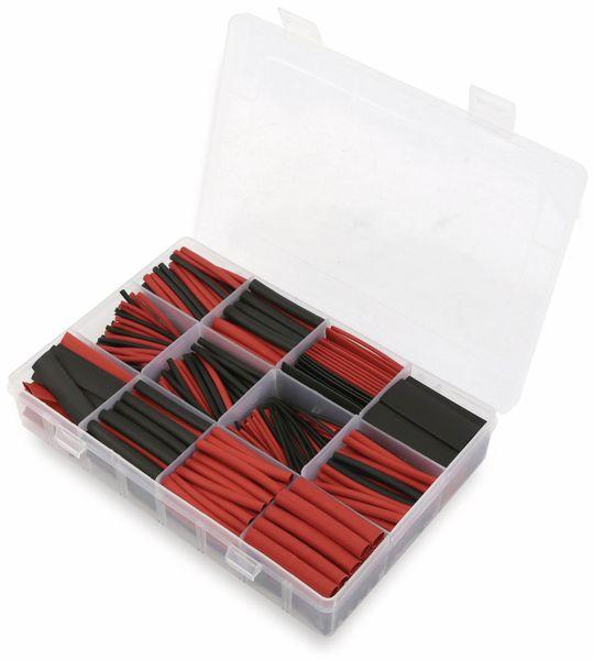 Schrumpfschlauch-Sortiment, 560-teilig in Plastikbox, Schrumpfrate 2:1, schwarz + rot