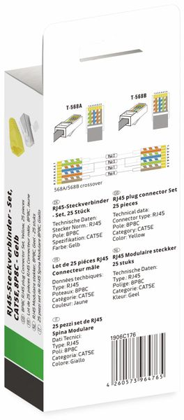 QUADRIOS, 1906C176, RJ-45 Steckverbinder Set-CAT 5e, Polzahl 8P8C, Gelb - geschirmt, 25 St. - Produktbild 3
