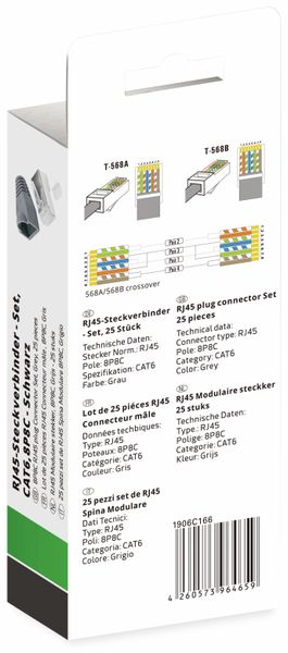 QUADRIOS, 1906C166, RJ-45 Steckverbinder Set-CAT 6, Polzahl 8P8C, Grau - geschirmt, 25 St. - Produktbild 3