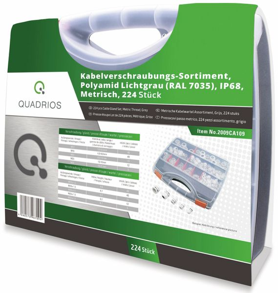 QUADRIOS, 2009CA109, Kabelverschraubungs-Set, Grau - Metrisch, 224 teilig - Produktbild 3