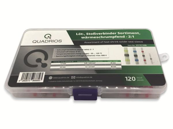 QUADRIOS, 2011C396, Löt-Stoßverbinder-Sortiment 120 Teile mit Lötzinn Transparent mit Innenkleber