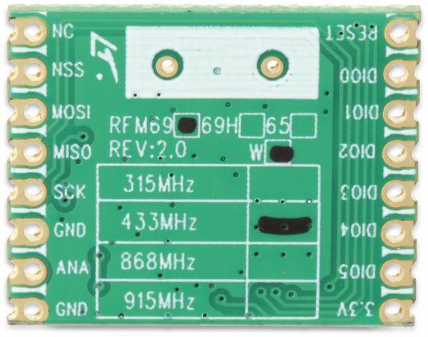 Funkmodul HOPERF RFM69W-433S2, 433 MHz, TX/RX - Produktbild 4
