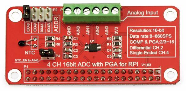 Raspberry Pi Erweiterung Analog zu Digital Konverter 16 Bit - Produktbild 1