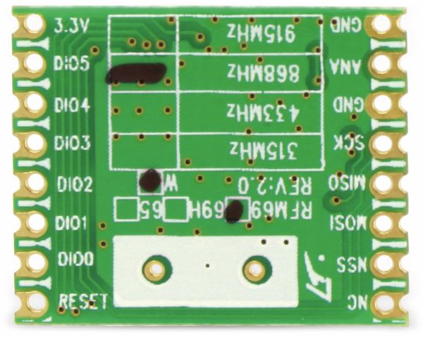 Funkmodul HOPERF RFM69W, 868 MHz, S2, TX/RX - Produktbild 4