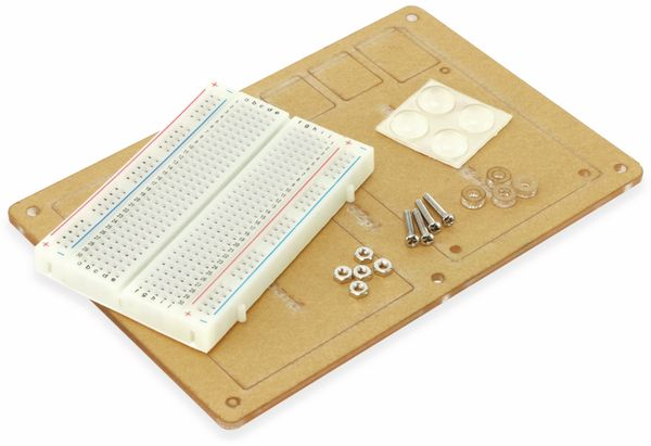 Acrylplatte und Breadboard für RPi B+/2B/3B/3B+
