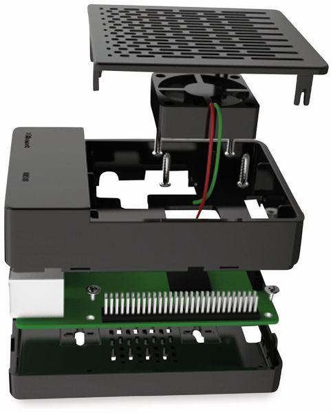 ABS Gehäuse schwarz für RPi mit Kühlkörper-Set und Lüfter - Produktbild 4