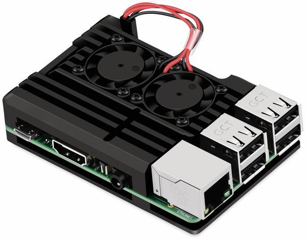Armor Gehäuse für Raspberry Pi 3, Alu gefräst, 2xLüfter, schwarz - Produktbild 3
