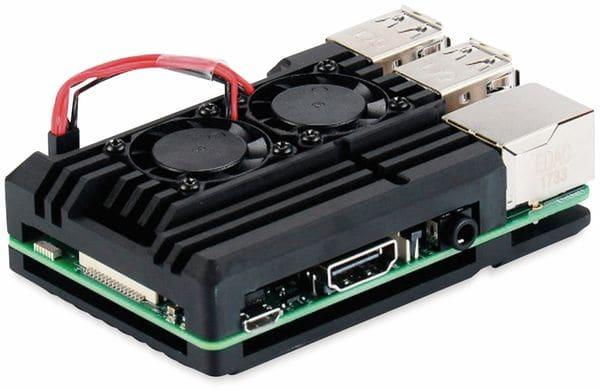 Armor Gehäuse für Raspberry Pi 3, Alu gefräst, 2xLüfter, schwarz - Produktbild 4