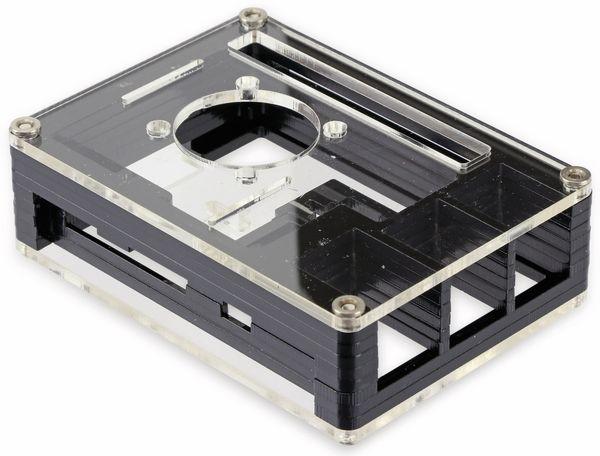 Acrylgehäuse transparent mit Lüfter und Kühlkörper für Raspberry Pi