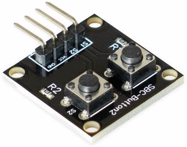 Joy-IT, Platinenmodul für Raspberry Pi/Arduino mit 2 Druckknöpfen , SBC-Button2