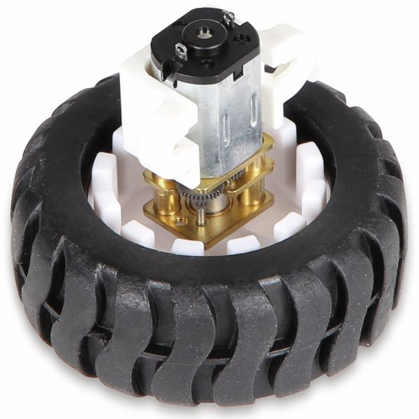 JOY-IT Mini Metallgetriebemotor mit Rad und Halter