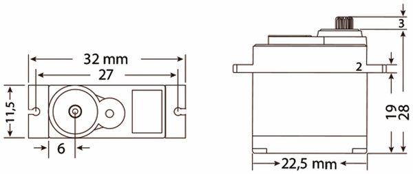 Jamara 74420 Servo High End 929HMGfür 450er Heli Digi/Metall22,5x11,5x24,6 - Produktbild 4