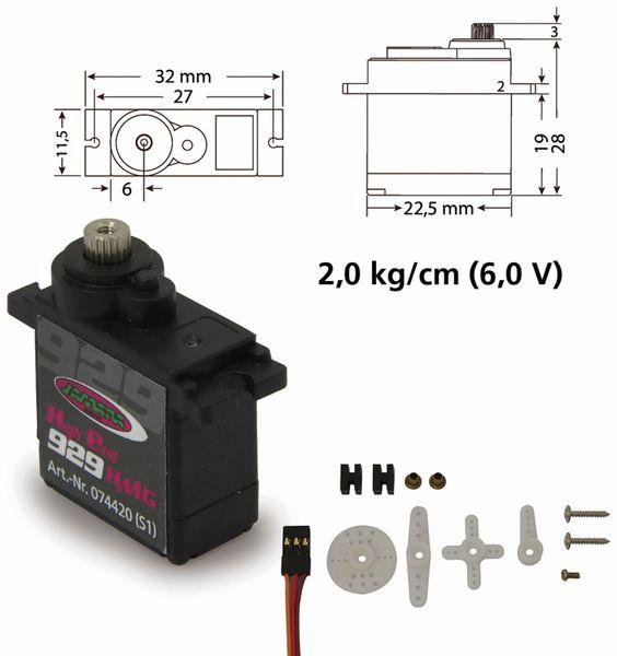 Jamara 74420 Servo High End 929HMGfür 450er Heli Digi/Metall22,5x11,5x24,6 - Produktbild 5