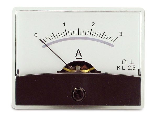 Einbau-Messinstrument mit Spiegelskala, 0...3 A-