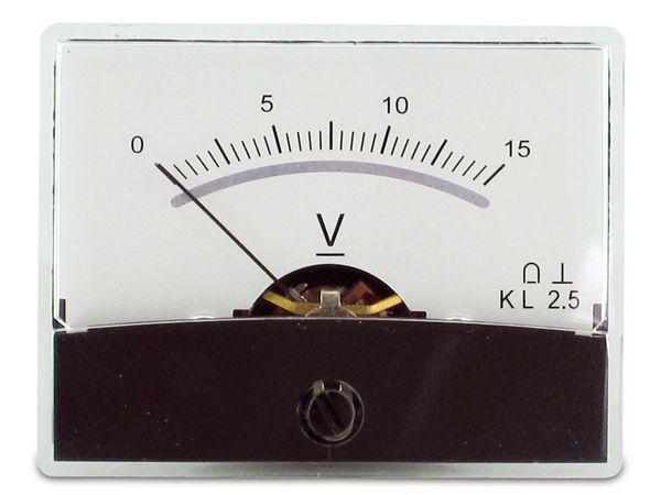 Einbau-Messinstrument mit Spiegelskala, 0...15 V-