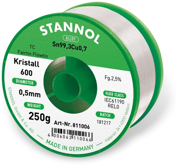 Lötzinn STANNOL Kristall 600 TC, 0,5 mm, 250 g