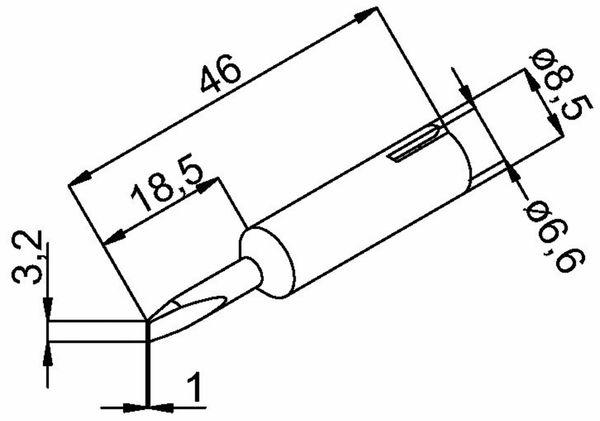 Lötspitze, ERSA, 0832EDLF/SB, meißelförmig, 3,2 mm