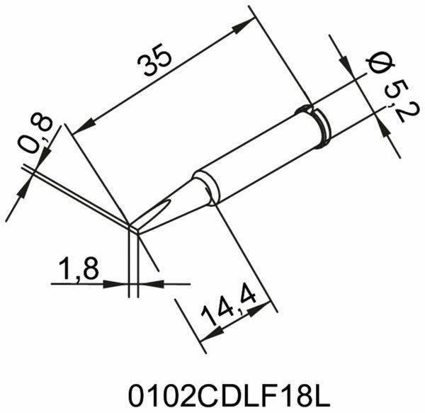 Lötspitze, ERSA, 0102CDLF18L/SB, meißelförmig, verlängert, 1,8 mm - Produktbild 2