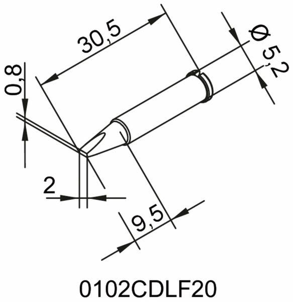 Lötspitze, ERSA, 0102CDLF20/SB, meißelförmig, 2,0 mm - Produktbild 2