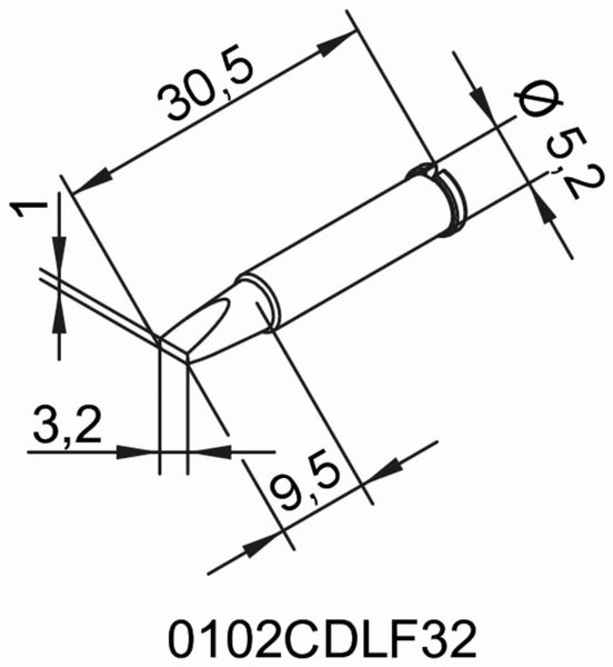 Lötspitze, ERSA, 0102CDLF32/SB, meißelförmig, 3,2 mm - Produktbild 2